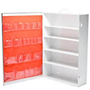 5 Shelf Metal Empty First Aid Cabinet With Pocket